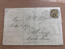 N° 32 Pli De St Ghislain Vers Allichamps (France) 25 Mai 9S 1880 Etiquette Compagnie De Charbonnages Belge à Frameries - 1869-1883 Léopold II