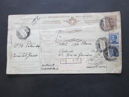 Italien 1914 Auslandspaketkarte Zusatzfrankaturen Und Vielen Stempeln Torre Del Greco - Ostende Belgien - Paketmarken
