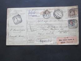 Italien 1914 Auslandspaketkarte Zusatzfrankaturen Und Vielen Stempeln Tremezzo  - Ostende Stempel Chiasso - Paketmarken