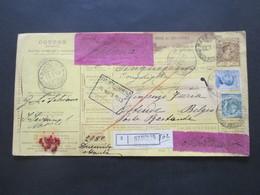 Italien 1913 Auslandspaketkarte Zusatzfrankaturen Und Vielen Stempeln Napoli -Ostende Klebezettel Handschriftlich Valore - Paketmarken