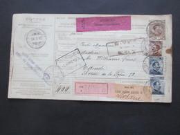 Italien 1913 Auslandspaketkarte Zusatzfrankaturen Und Vielen Stempeln Torino - Ostende Klebezettel Assegno Remboursement - Paketmarken