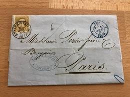 N° 32 Pli D'Anvers (Station) Vers Paris 31 Jul 4S 1877 Louis Falcon Anvers Ambulant Bleu - 1869-1883 Léopold II