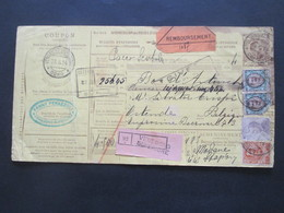 Italien 1913 Auslandspaketkarte Zusatzfrankaturen, Viele Stempel Venegono Superiore - Ostende Klebezettel Remboursement - Paketmarken