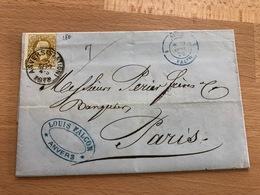 N° 32 Pli D'Anvers (Station) Vers Paris 2 Sept 4S 1878 Louis Falcon Anvers Ambulant Bleu Et France Midi 1 CU Coquille TB - 1869-1883 Léopold II