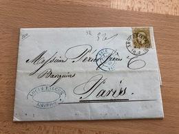 N° 32 Pli D'Anvers (Station) Vers Paris 28 Sept 4S 1880 Louis Falcon Anvers Ambulant Bleu - 1869-1883 Léopold II