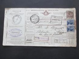 Italien 1912 Auslandspaketkarte Zusatzfrankaturen, Viele Stempel Torre Del Greco - Ostende Belgien - Paketmarken