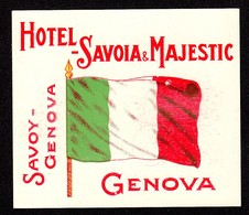 "Hotelaufkleber Etiquette Pour Valise "" Italia Genova Hotel Savoy "" Kofferaufkleber Luggage Label Adesivi Per Hotel Decal - Hotelaufkleber"