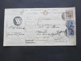 Italien 1914 Auslandspaketkarte Zusatzfrankaturen, Viele Stempel Torre Del Greco - Ostende Belgien - Paketmarken
