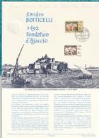 """ASSEZ  RARE  --  """""""" SANDRO  BOTTICELLI  1492  FONDATION  D AJACCIO  """"""""  --  1992  --  Document  Philatélique  Officiel - Documents Of Postal Services"""