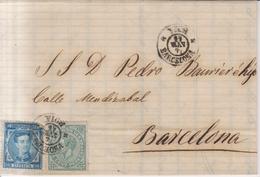 Año 1876 Edifil 175-183 De Alfonso XII Carta  Matasellos Vich Barcelona Ana Callis Pujol - 1875-1882 Regno: Alfonso XII