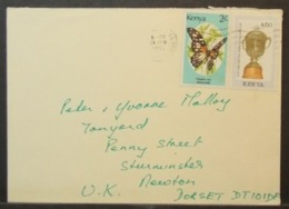 Kenya - Cover To England 1991 Butterfly Soccer - Kenia (1963-...)
