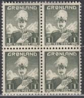 GRÖNLAND  1, 4erBlock, Postfrisch **,  Freimarken: König Christian X. 1938 - Bloques