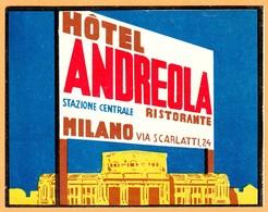 """Hotelaufkleber Etiquette Pour Valise """" Italia Milano Hotel Andreola """" Kofferaufkleber Luggage Label Adesivi Per Hotel - Adesivi Di Alberghi"""