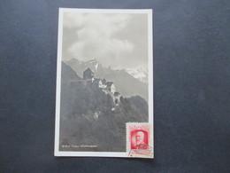 Liechtenstein 1930 Echtfoto AK Schloß Vaduz Roter Stp. Sieger Neuheuten Dienst + Originalunterschrift Hermann E. Sieger - Briefe U. Dokumente
