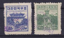 South Korea 1949 Mi. 53-54     50 W & 100 W Seoul Nam-dae-Mun & Pulguksa Bei Kyongju Purple Cancels !! - Korea (Süd-)