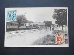 GB Kolonie Sarawak 1932 Echtfoto AK Railway Sation / Eisenbahn Echt Gelaufene Postkarte Nach Backa Jugoslawien - Sarawak (...-1963)