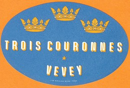 "Hotelaufkleber Etiquette Pour Valise "" Suisse Vevey Trois Couronnes "" Kofferaufkleber Luggage Label Adesivi Per Hotel - Adesivi Di Alberghi"