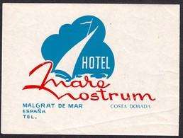 "Hotelaufkleber Etiquette Pour Valise "" Espagna Malgrat Mare Nostrum "" Kofferaufkleber Luggage Label Adesivi Per Hotel - Adesivi Di Alberghi"