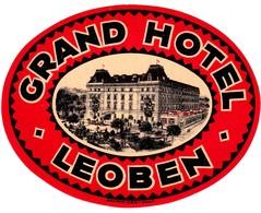 "Hotelaufkleber Etiquette Pour Valise "" Österreich Leoben Grand Hotel"" Kofferaufkleber Luggage Label Adesivi Per Hotel - Etiquetas De Hotel"
