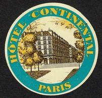 "Hotelaufkleber Etiquette Pour Valise "" France Paris Hotel Continental "" Kofferaufkleber Luggage Label Adesivi Per Hotel - Etiquetas De Hotel"