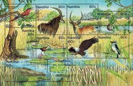 MDA-BK27-321 MDS MDB MINT ¤ NAMIBIA 1998 10w In Serie  ¤ ENDANGERED ANIMALS - WILD ANIMALS - BIRDS - Gibier