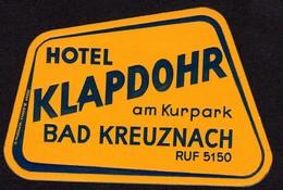 "Hotelaufkleber Etiquette Pour Valise "" Bad Kreuznach Hotel Klapdohr  "" Kofferaufkleber Luggage Label Adesivi Per Hotel - Adesivi Di Alberghi"