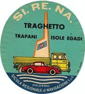 "Hotelaufkleber Etiquette Pour Valise "" Italia Palermo Traghetto Trapani Isole Egadi "" Luggage Label Adesivi Per Hotel - Hotelaufkleber"