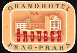 "Hotelaufkleber Etiquette Pour Valise "" Prag Praha Grand Hotel Sroubek "" Kofferaufkleber Luggage Label Adesivi Per Hotel - Adesivi Di Alberghi"