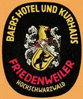 "Hotelaufkleber Etiquette Pour Valise "" Friedenweiler Baden Hotel Baer "" Kofferaufkleber Luggage Label Adesivi Per Hotel - Adesivi Di Alberghi"