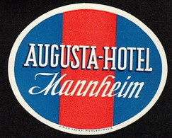 "Hotelaufkleber Etiquette Pour Valise "" Mannheim Augusta-Hotel "" Kofferaufkleber Luggage Label Adesivi Per Hotel - Adesivi Di Alberghi"