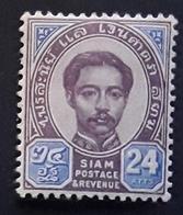 SIAM, 1887 , Chulalongkorn 1 Er , Yvert No 13, 24 A Violet Brun Et Bleu  , Neuf * MH , TTB - Siam