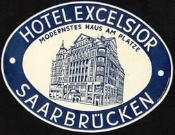 "Hotelaufkleber Etiquette Pour Valise "" Saarbrücken Saar Hotel Excelsior"" Kofferaufkleber Luggage Label Adesivi Per Hotel - Etiquetas De Hotel"