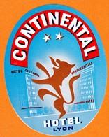 """Hotelaufkleber Etiquette Pour Valise """" France Lyon Hotel Continental """" Kofferaufkleber Luggage Label Adesivi Per Hotel - Adesivi Di Alberghi"""