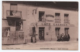CPA CAFE GRENIER, RESTAURANT TABAC, POMPE A ESSENCE, VAUCHAMPS, ANIMEE, PUBLICITES - France