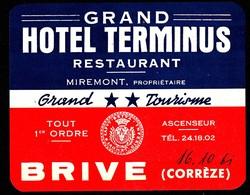"Hotelaufkleber Etiquette Pour Valise "" France Brive (Correze) Terminus "" Kofferaufkleber Luggage Label Adesivi Per Hotel - Adesivi Di Alberghi"