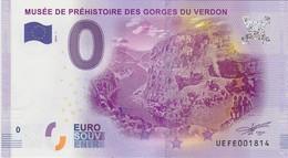 BILLET TOURISTIQUE 2016 QUINSON MUSEE DE PREHISTOIRE DES GORGES DU VERDON - EURO