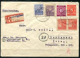 F0266 - SBZ - R-Brief Von Ludwigslust > Dortmund Mit 2x Mi.33 (versch.Farben) Und Paar Der Mi.36 (Ank.-Stempel) - Sovjetzone