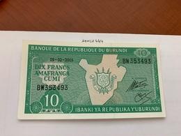 Burundi 10 Francs Uncirc. Banknote 2005 - Burundi