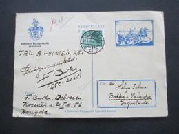 Rumänien 1935 Postkarte Mit Pferdekusche Und Wappen Debreceni Belyeggyüjtok Egyesülete Nach Backa Jugoslawien Gesendet - Covers & Documents
