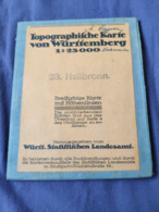 Germany Deutchland 1/25 000 HEILBRONN 23 Topographische Landkarte 1902 Neckarsulm Weinsberg Sur Papier Toilé - Mapas Topográficas