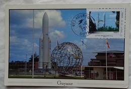 Carte Maximum Card   Guyane Kourou  Fusée Ariane  Timbre Guyane Que J'aime 2011 - FDC & Commemorrativi