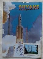 Carte Maximum Card   Guyane Kourou  Fusée Ariane Décolage  Timbre Guyane Que J'aime 2011 - FDC & Commémoratifs