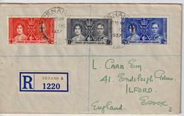 Registered Cover To Ilford/GB With The Compl. Set Fo The Coronation 1937 (05507) - Straits Settlements