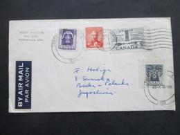 Kanada / Canada 1958 Air Mail Von Huntsville Nach Backa Palanga Jugoslawien Mit 4 Marken / 1x Eckrandstück - Cartas