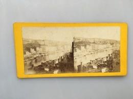 1880 Photo Privée Carte Stéréoscopique Stéréo Lyon Panorama Du Quai De Pierre Scize - Lyon 5