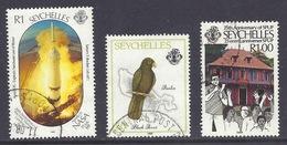 Seychelles - 1989 Landing On Moon, Saturn 5 Rocket NASA, Birds, Black Parrot, Praslin, Island Map - Used - Seychellen (1976-...)