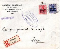 """OC3 Et 4 Sur Lettre Recommandée (courrier Bancaire) De Bruxelles Vers Liège -  Griffe """"Inhalt Geprüft"""" Au Dos - Guerre 14-18"""