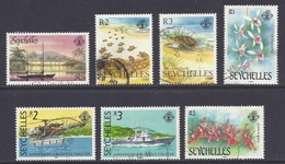 Seychelles - 1988 Tourism Beach Scenes, Fauna Green Turtle, Defence Forces Day, Flora Orchids - Used - Seychellen (1976-...)