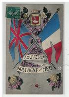 62 BOULOGNE SUR MER #11035 SOUVENIR ALLIANCE DRAPEAUX ANGLAIS FRANCAIS BLASON - Boulogne Sur Mer
