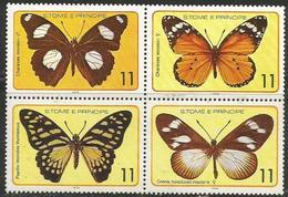 St Thomas & Prince. - 1979 Butterflies Block Of 4 MNH ** - São Tomé Und Príncipe